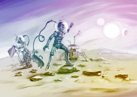 Постер, плакат: Brave astronauts, холст на подрамнике