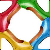Vícebarevné žena boty pozadí-7