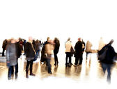 Folla di offuscata alla fiera o in un museo