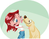 A funky cartoon woman gets a big wet kiss from her dog Illustrator eps v10 Contains some transparency effects on highlights