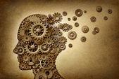 Simbolo di concetto di assistenza sanitaria e medica di dimentia cervello problema su una trama di pergamena grunge come documento depoca con ingranaggi e pignoni come icone della medicina e della intelligenza umana