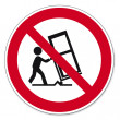Постер, плакат: Prohibition signs BGV icon pictogram Cargo transport by trucks prohibited barrow load