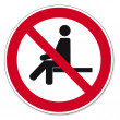 Постер, плакат: Prohibition signs BGV icon pictogram forbidden to sit