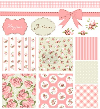 Vintage Rose Pattern, frames and cute seamless backgrounds.