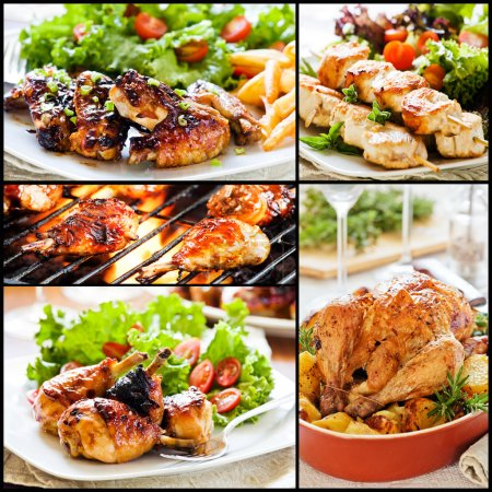 Постер, плакат: Colorful Chicken Meals Collage, холст на подрамнике
