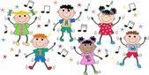 Mixed ethnic children dancing