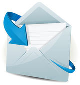 Illustration of an email inbox reception icon envelope with blue arrow orbiting around for contact us and feedback symbols