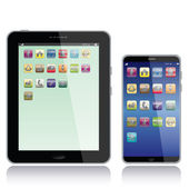 Portrait view illustration of a tablet pc and smart phone with apps icons on screenisolated in white background