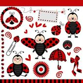 Scalable vectorial image representing a ladybug digital scrapbook isolated on white