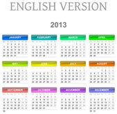 Colorato dal lunedì alla domenica 2013 calendario illustrazione versione inglese