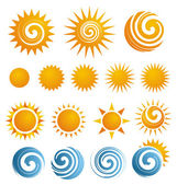 Collection of isolated Sun icons and design elements