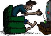 Skinny Latino man playing retro video games