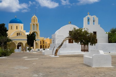 Постер, плакат: Cycladic churches, холст на подрамнике