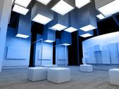Kunstgalerie mit leeren Rahmen, moderne Gebäude, konzeptionelle archi
