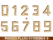 Wooden plank number illustrations 0 to 9