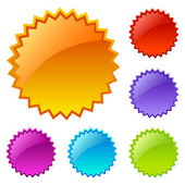 Blank colored web icons set isolated on white