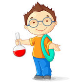 Vector illustration of kid holding laboratory flask