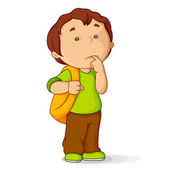 Vector illustration of confused kid with school bag