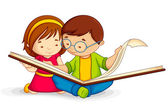 Kid reading Open Book