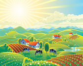 Vector illustration Rural summer landscape A lot of details: the flowers and hills cows and garden Bright colors for the transfer of the summer mood