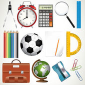 Collection of various school supplies