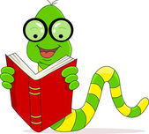 Vector illustration of A happy worm reading book