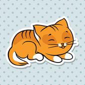 Red cute funny cat sleep Vector illustration