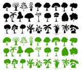 Illustration of tree silhouettes on white