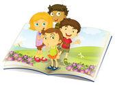 Illustration of kids watching flies in a garden