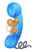Illustration of a mouse with phone receiver on a white