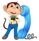 Illustration of a monkey with phone receiver on a white