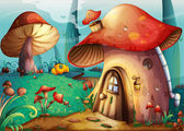 Illustration of red mushroom house on a blue background