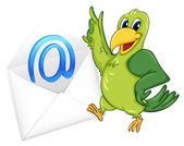 Illustration of a bird with mail envelop on a white