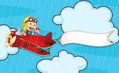Illustration of a monkey in aeroplane in rain