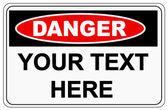 Danger sign label on white