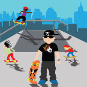 Bully Skater kid in a skate park with city on the background