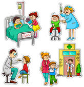 Children in different situations related to health and medicine