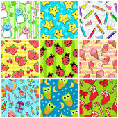 Collection of different seamless patterns with adorable designs