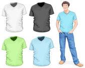 Mens v-neck t-shirt design template (front view)