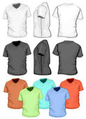 Mens V-neck t-shirt design template (front, back and side view)