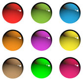Nine colored transparent aqua buttons on a white background