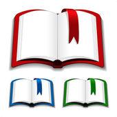 Vektorové otevřené knihy s záložka