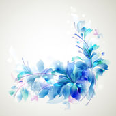 Tender background with three abstract flower and small butterflies