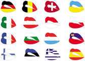 Vector illustration of lips on flags