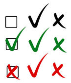 Häkchen, Tick und Kreuz. Vektor-illustration