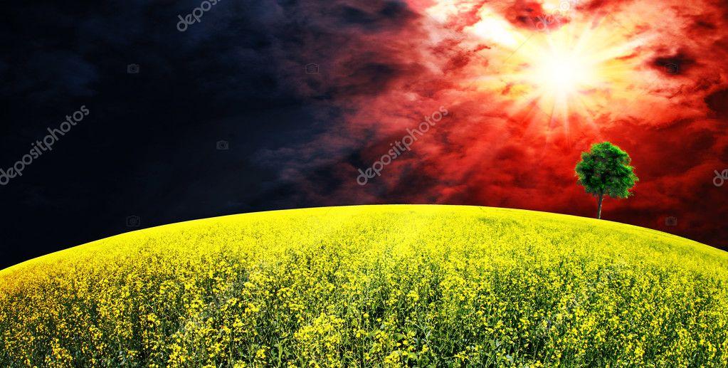 Supernova. Abstract summer rural landscape
