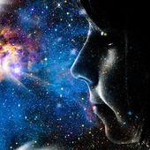 dítě z vesmíru. abstraktní ženský portrét