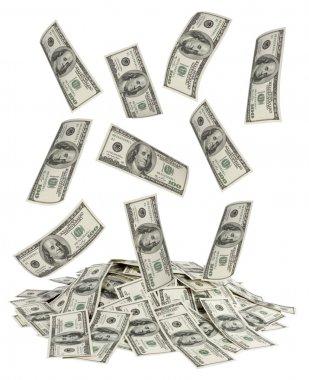 Dollars falling on white background