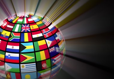 Global communication concept: glowing globe with world flags on black background stock vector