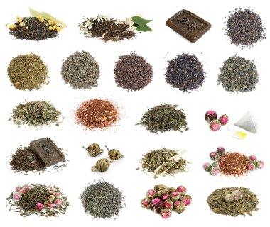 Set with tea leaves